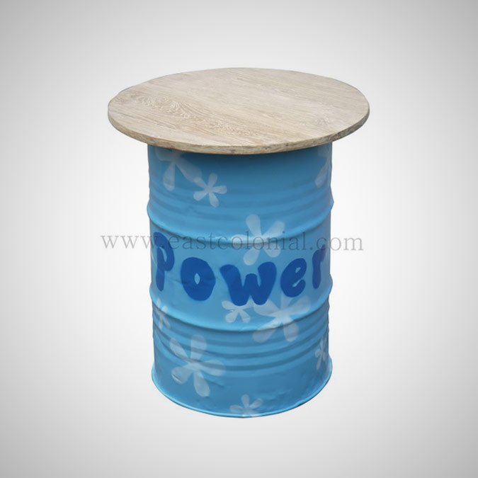 Barrel Bar Table Blue
