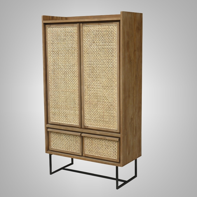 Cane Cupboard with Iron Leg