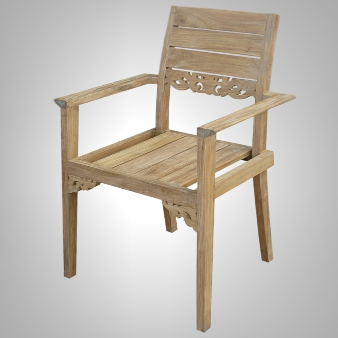 Carving Stacking Arm Chair