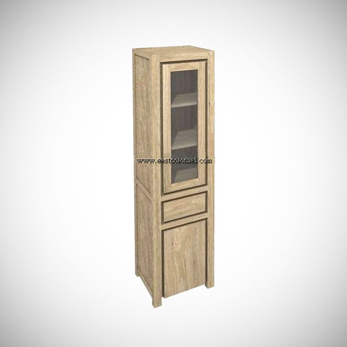 Solo Cupboard 1 Glass Door 1 Drawer 1 Wooden