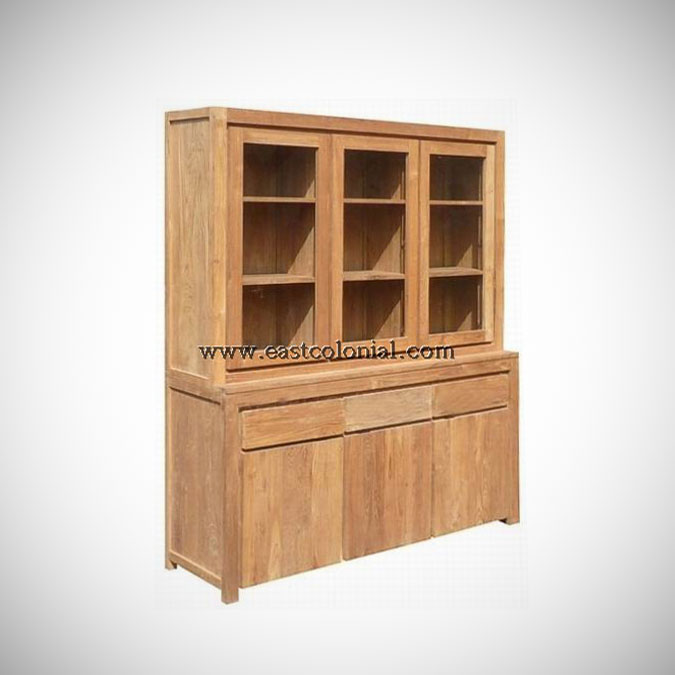 Solo Cupboard 3 Glass Doors 3 Drawers 3 Woode