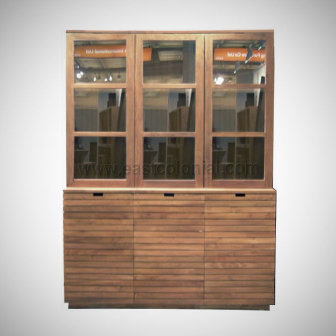 Slats Cupboard Vitrine 3 Glass Doors 3 Wooden Doors