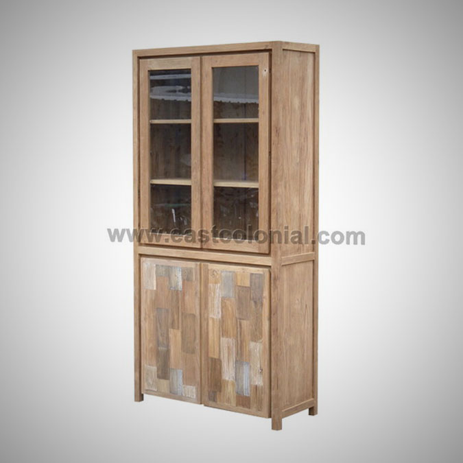 Mozaik Cupboard 2 Glass Doors 2 Wooden Doors
