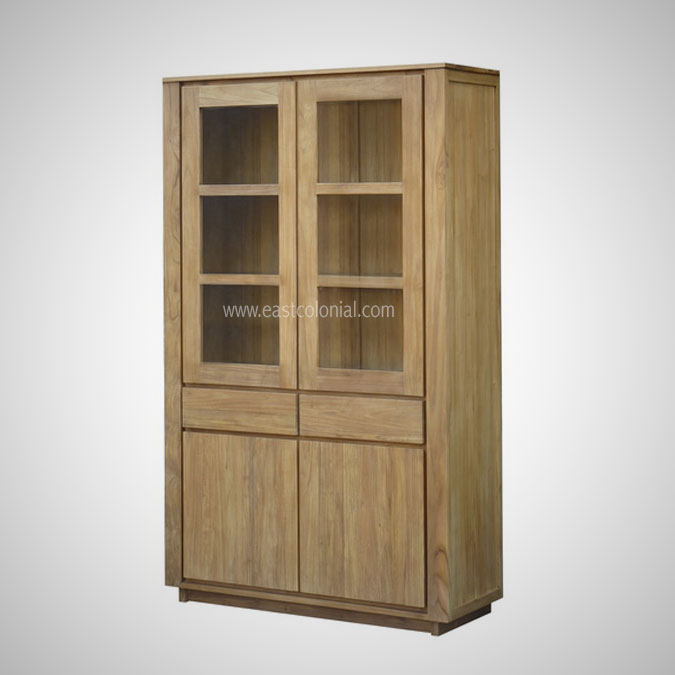 TEMPO CUPBOARD 2 GLASS DOORS 2 DRAWERS 2 DOORS
