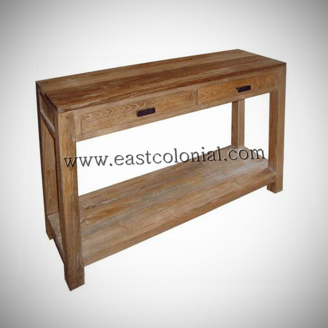 Solo Console Table Large w Shelf 2 Drawers