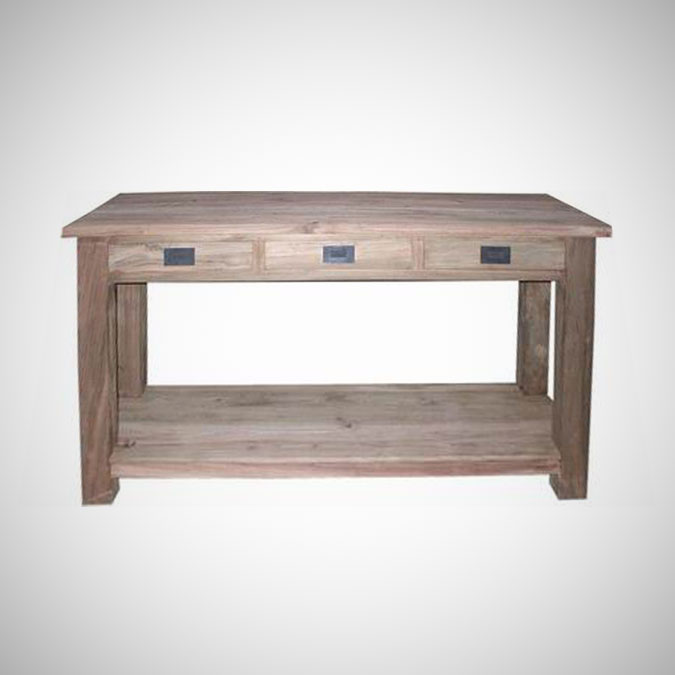 Herman Console Table 2 Level with 3 Drawers Small