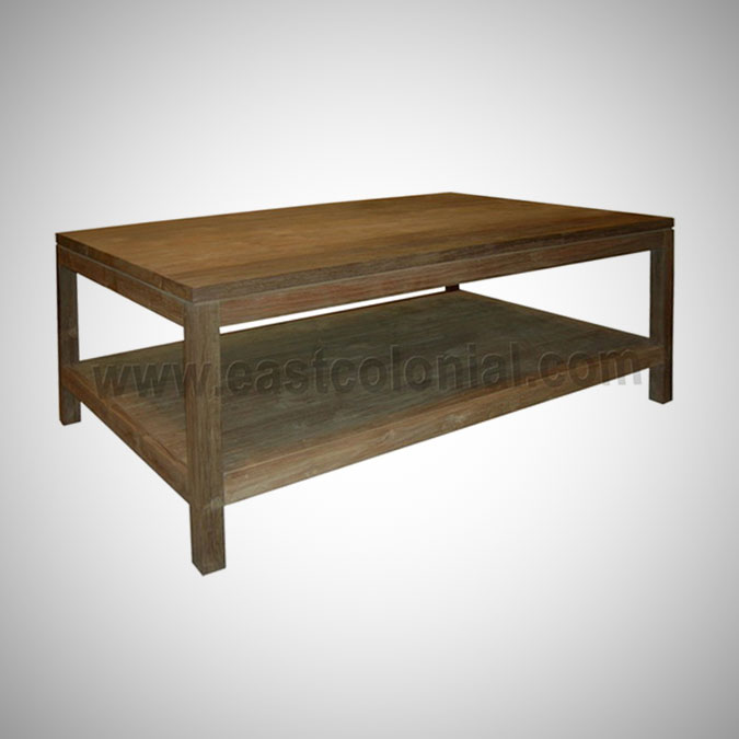 Slat Coffee Table Square Medium with Shelf