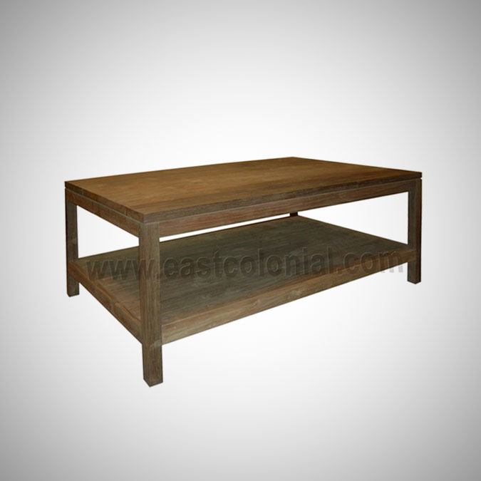 Slat Coffee Table Square Small with Shelf