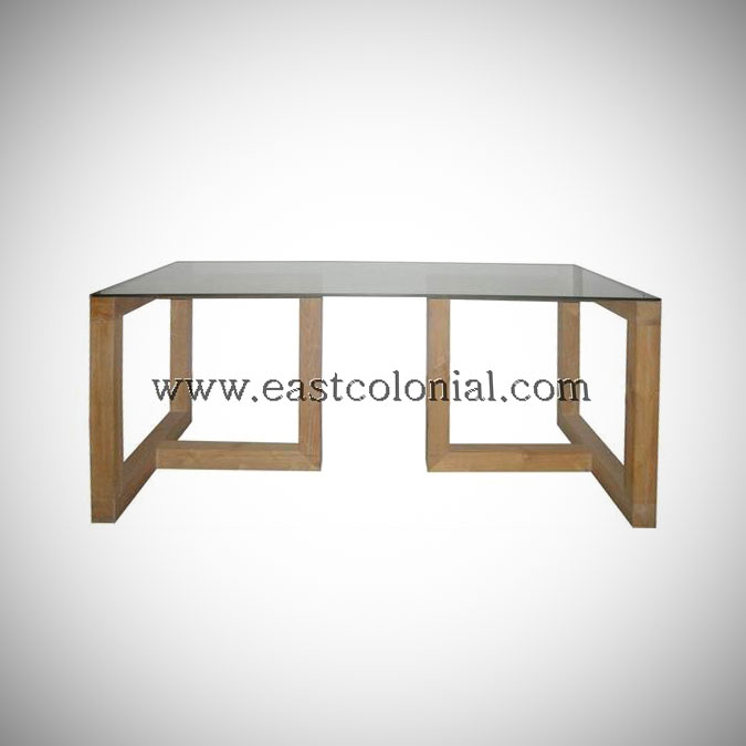 Linear Dining Table with Glass Top Small