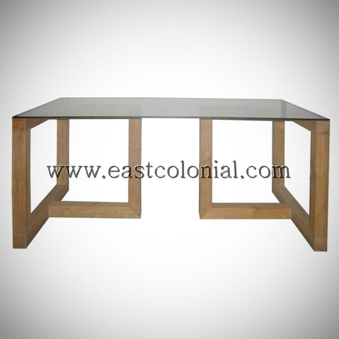 Linear Dining Table with Glass Top Large