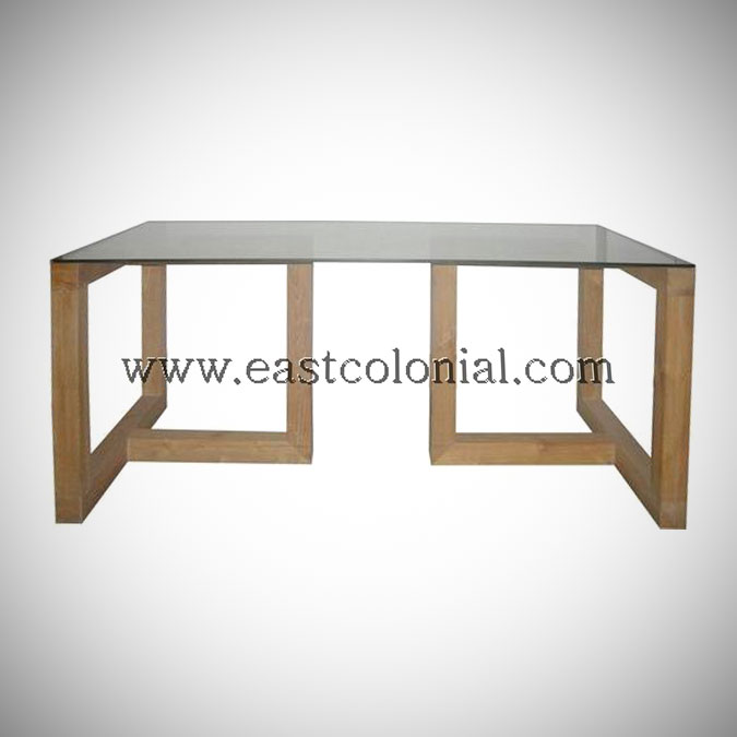 Linear Dining Table with Glass Top Medium