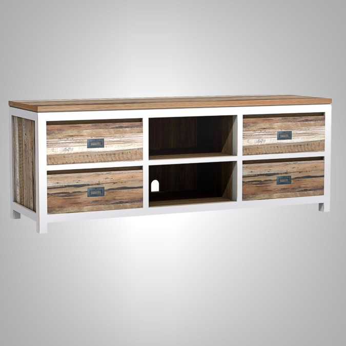 Duo Tv Rack with 4 Drawers and Open Shelves