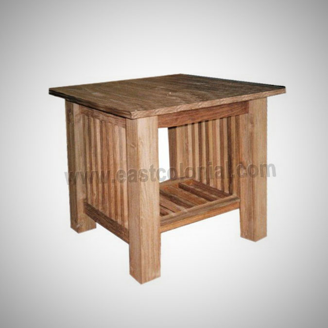 Slat End Table Square Medium w Shelf