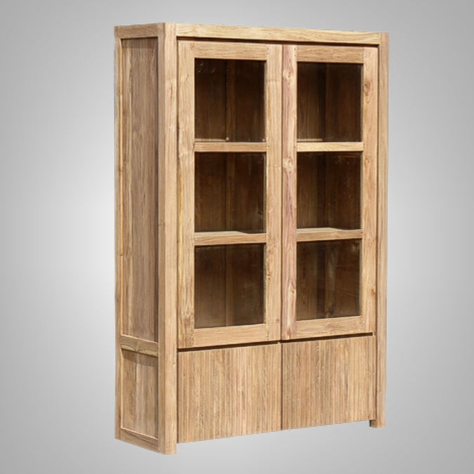 Groove Cupboard With 2 Wooden Doors 2 Glass Doors