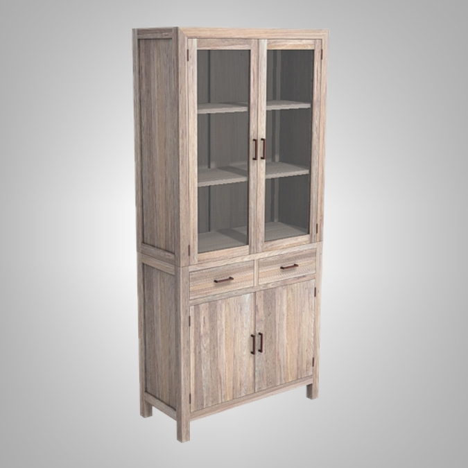 Java Cupboard 2 Glass Doors 2 Drawers 2 Woode