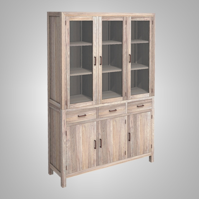Java Cupboard 3 Glass Doors 3 Drawers 3 Woode