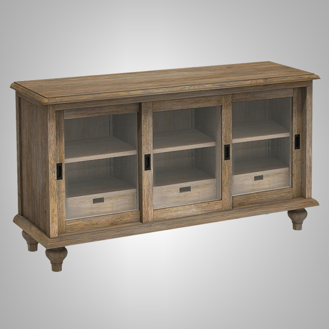 Loraine Chest 2 Sliding Doors with 3 Drawers Inside