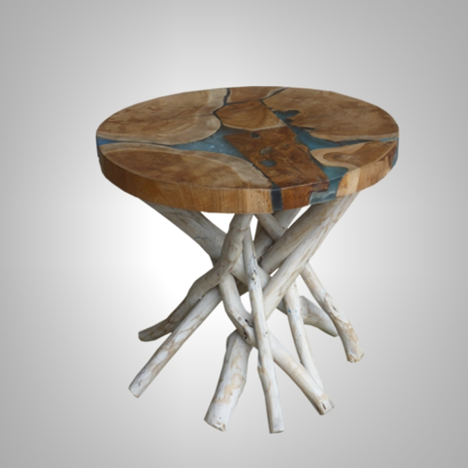 ROUND RESIN TABLE WITH PANG LEG