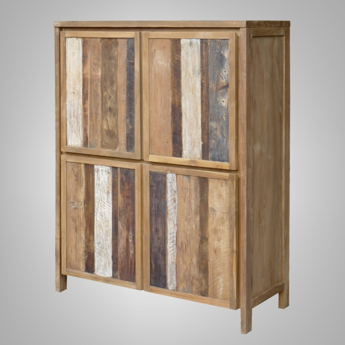 Rust Teak Cupboard 4 Wooden Doors