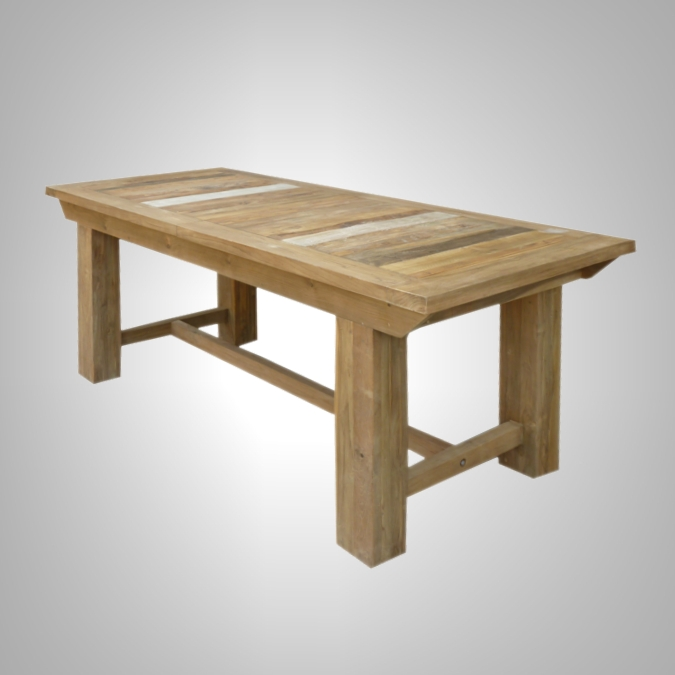 Rust Teak Dining Table Extension- Close