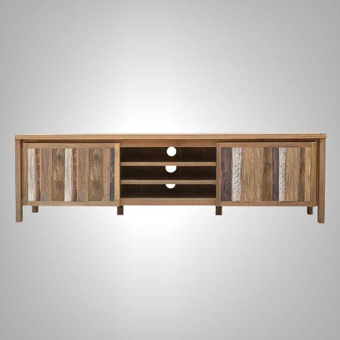 Rust Teak TV Rack 2 Doors with Open Shelve