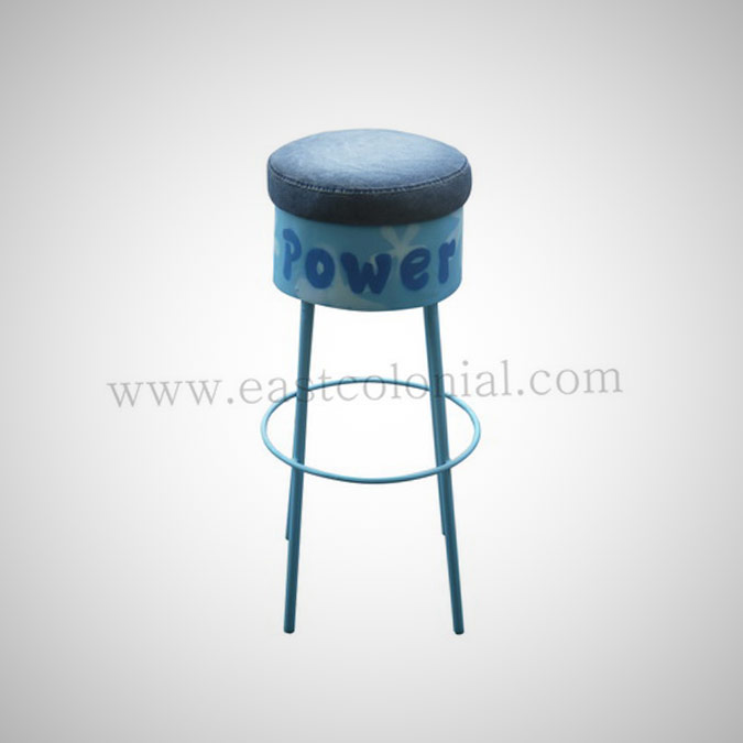 Barrel Bar Stool Blue