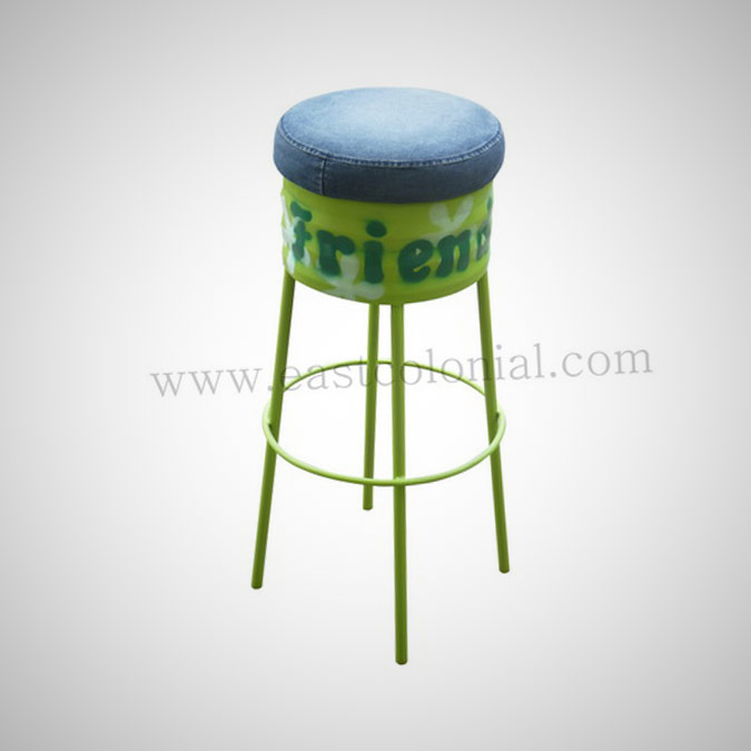 Barrel Bar Stool Green