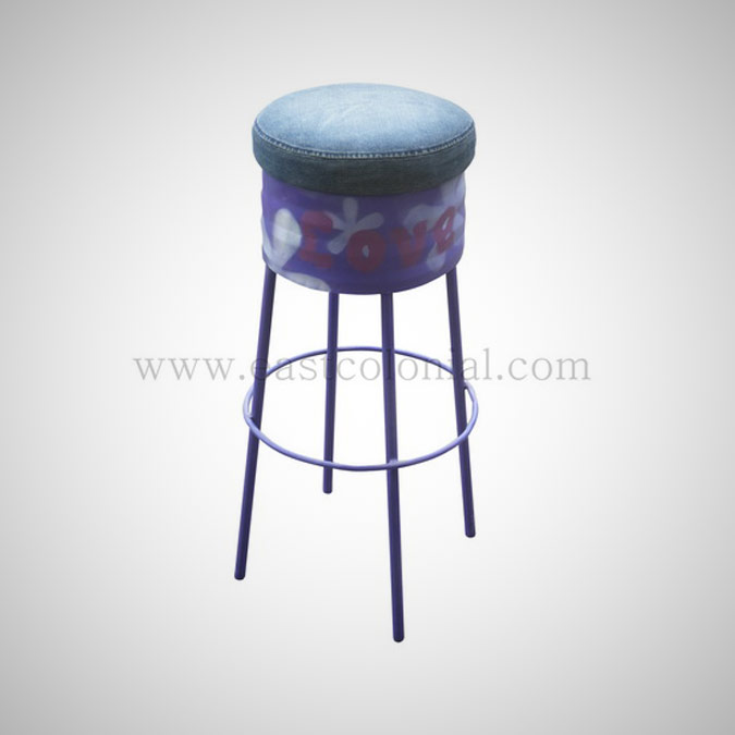 Barrel Bar Stool Purple
