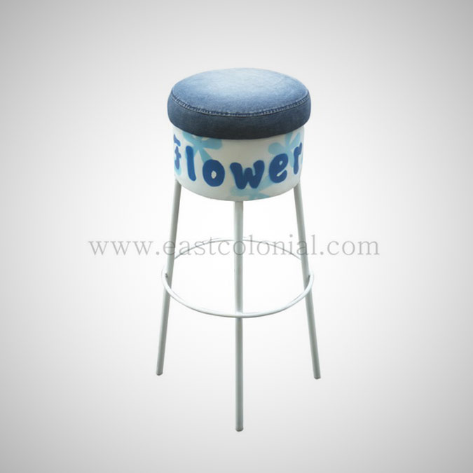 Barrel Bar Stool White