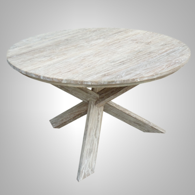 Trestle Round Table White Wash