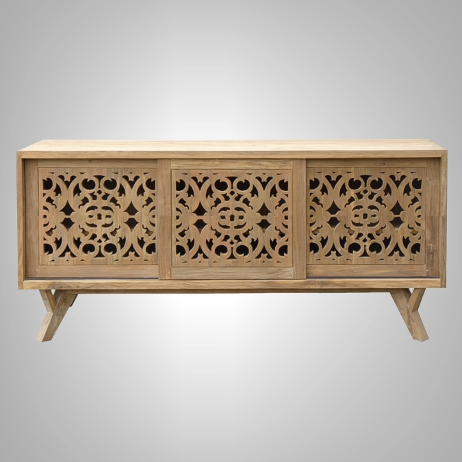 TV Rack Carving 3 Sliding Doors